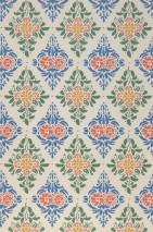 Wallpaper Loreley Hand printed look Matt Floral damask Cream Brilliant blue Pine green Ochre yellow Orange red