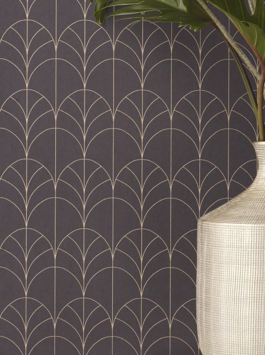 Art Deco Wallpaper Wallpaper Ninon slate grey Room View