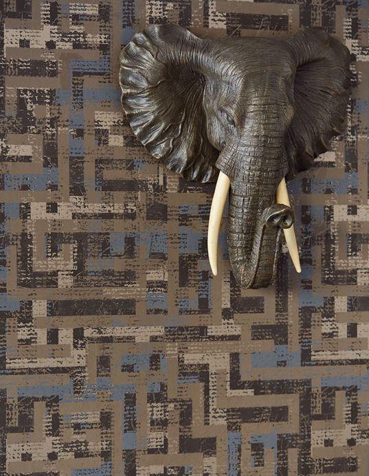 Papel pintado oriental Papel pintado Masai marrón grisáceo Ver habitación