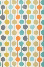 Wallpaper Almeda Matt Dots Stripes Cream Dark grey Mint turquoise Ochre yellow Olive yellow Orange