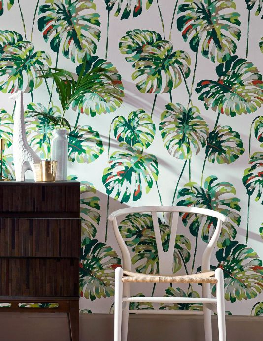 Floral wallpaper Wallpaper Ronja shades of green Room View