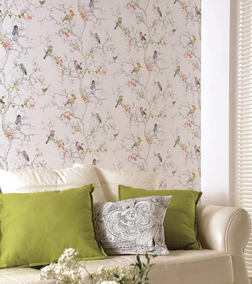 Papel pintado ziberno blanco crema azul gris oscuro for Statement wallpaper living room