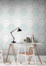 Papier peint Novara Motif chatoyant Surface mate Hexagones Imitation marbre Gris Blanc gris Turquoise menthe clair Vert pâle Beige nacré