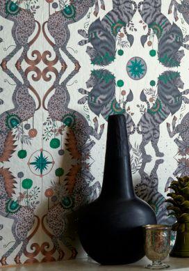 Papel pintado Caspian crema brillante Raumansicht