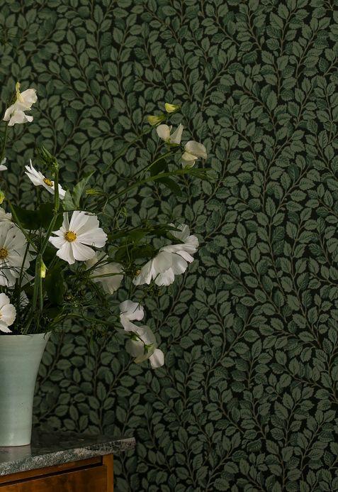 Papier peint classique Papier peint Malva vert pin Vue pièce