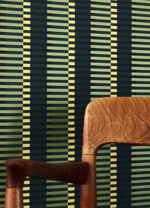 Papier peint Basma Mat Rayures Vert bleu Jaune Vert clair chatoyant Noir