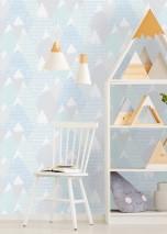 Papier peint Kadira Mat Montagnes Éléments graphiques Gris Bleu pastel Turquoise pastel Blanc