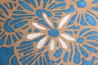 Papel pintado Welamie Mate Hojas Flores Aguamarina brillante Blanco crema Oro mate