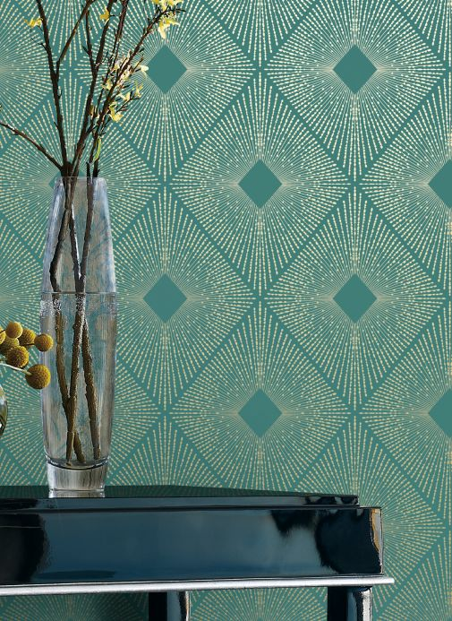 Luxury Wallpaper Wallpaper Metropolis pale mint-turquoise Room View
