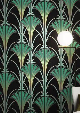 Papel de parede Morley verde pátina Raumansicht