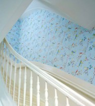 Wallpaper Audrey Matt Blossoms Butterflies Birds Pastel light blue Heather violet Yellow Light blue Copper brown White