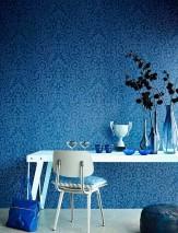 Wallpaper Lynda Shimmering pattern Matt base surface Modern damask Dark blue Light blue