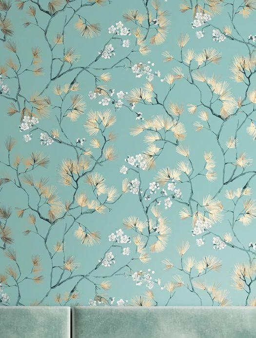 Papel de parede floral Papel de parede Makino turquesa menta Ver ambiente