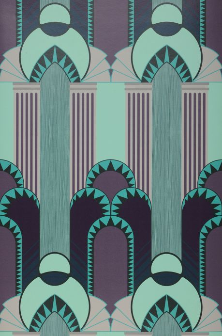 Papel pintado Art Decó Papel pintado Gatsby verde pastel Bahnbreite