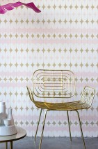 Wallpaper Yukina Matt Graphic elements Retro design Pale pink Cream Pearl gold