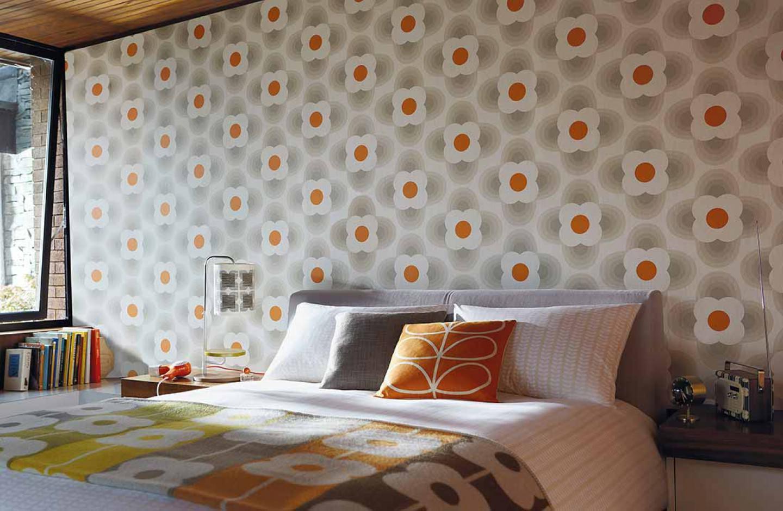 tapete selene cremeweiss graubeige orange tapeten der 70er. Black Bedroom Furniture Sets. Home Design Ideas
