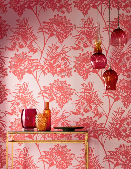 Flower wallpaper Wallpaper Liliane rosè Room View