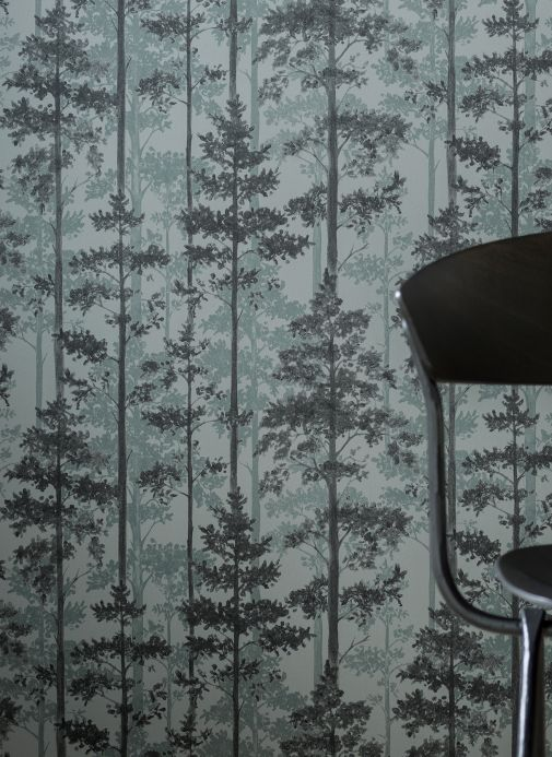 Botanical Wallpaper Wallpaper Valira grey tones Room View