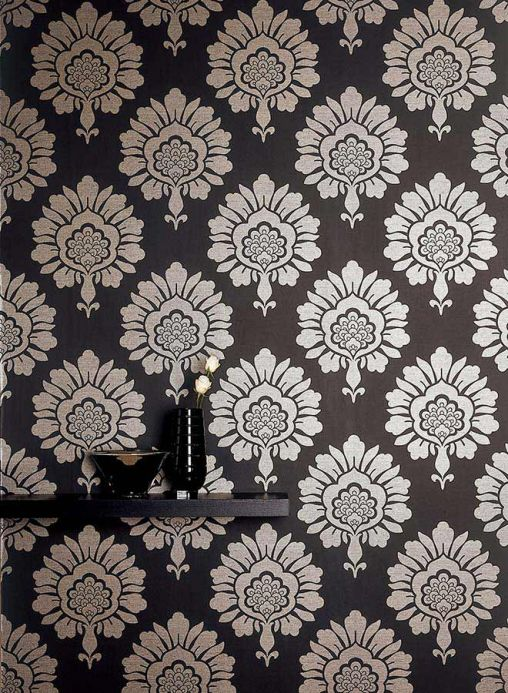 Archiv Wallpaper Hermes anthracite Room View