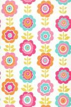 Papel pintado Feigola Mate Flores estilizadas Blanco crema Verde amarillento Naranja Rosa Turquesa