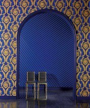 Wallpaper Fotini Shimmering pattern Matt base surface Floral damask Stripes Dark blue Blue Gold Light blue Matt gold