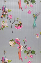 Wallpaper Ornella Matt Birds Branches with blossoms Silver Heather violet Grey brown Green Orange Turquoise