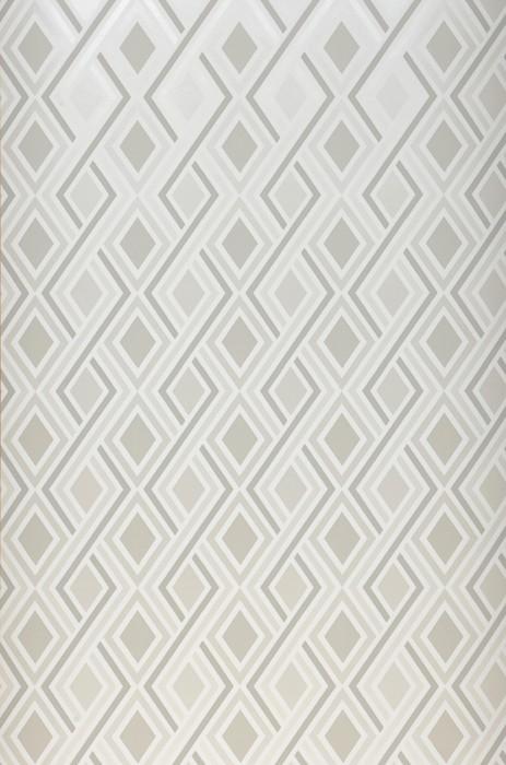 Papel pintado Iroko Mate Elementos gráficos Rombos Blanco crema brillante Tonos de gris Blanco Crema brillante