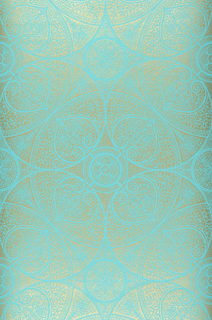 Wallpaper Kassandra Turquoise Gold Wallpaper From The 70s