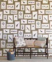 Papier peint Jara Mat Feuilles Fleurs Papillons Oiseaux Gris olive Gris beige Blanc gris Kaki Gris noir Gris pierre