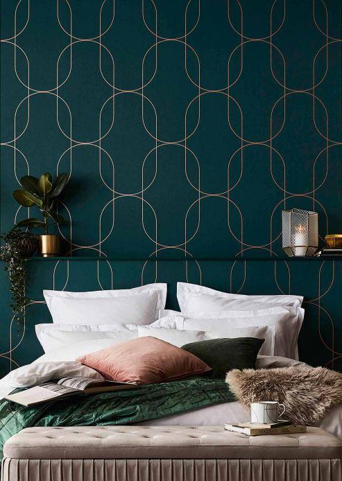 Papel de parede geométrico Papel de parede Palazzo verde pinho Ver ambiente