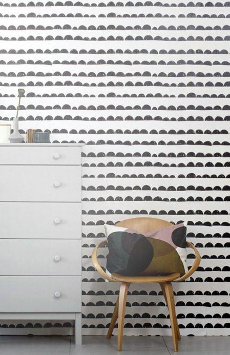 Papel de parede geométrico Papel de parede Half Moon branco creme Ver quarto