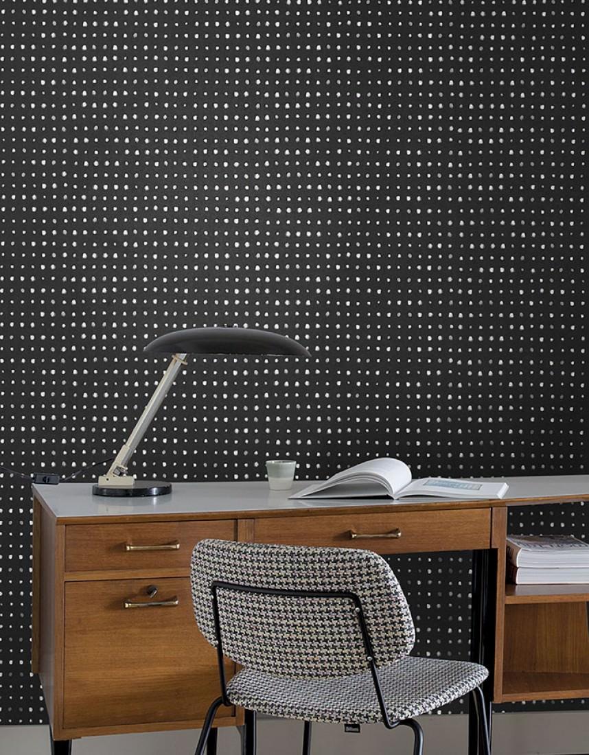 Papel pintado wukata negro beige gris ceo gris plateado - Papel pintado plateado ...