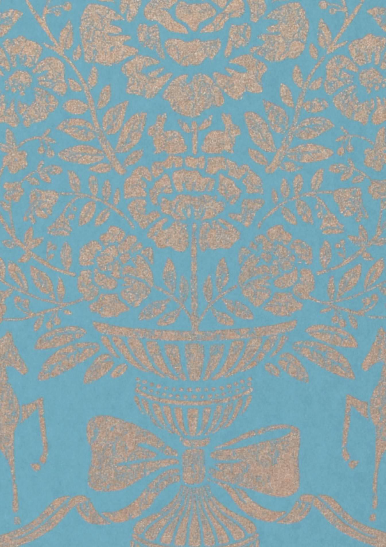 Tapete sisan hellblau braunbeige tapeten der 70er for Tapete hellblau muster