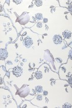 Wallpaper Cara Matt pattern Shimmering base surface Blossoms Birds Branches Cream pearl lustre Pale grey blue Pale grey violet