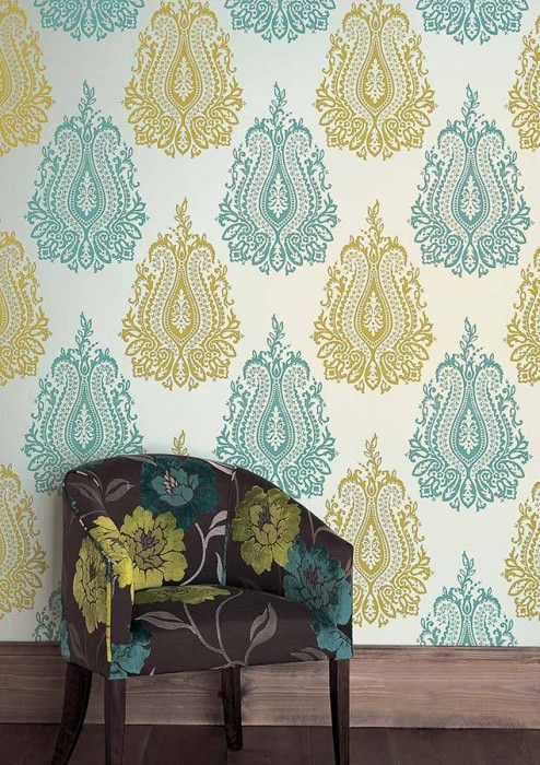 Wallpaper Carbacan Shimmering base surface Velour look Baroque damask White gold Yellow green Turquoise
