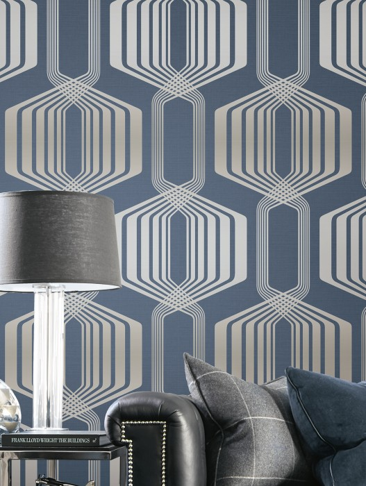 Wallpaper Rumba Shimmering pattern Matt base surface Retro elements Dark blue Pearl pale blue