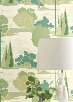 Wallpaper Haru shades of green Raumansicht