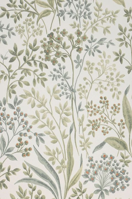 Papel pintado floral Papel pintado Pilar tonos de verde Detalle A4