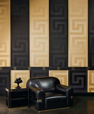 Papel pintado Solea negro Ver habitación