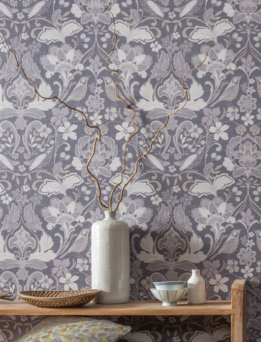 Archiv Wallpaper Leyla grey tones Room View