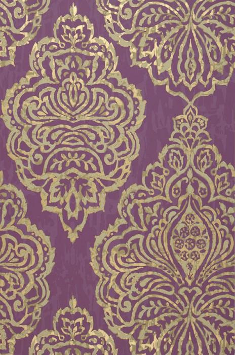 Papier peint Olivia Aspect impression à la main Motif chatoyant Surface mate Damassé baroque Violet Ivoire clair Or nacré