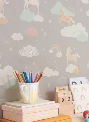 Papel pintado Rainbow treasures gris musgo Ver habitación