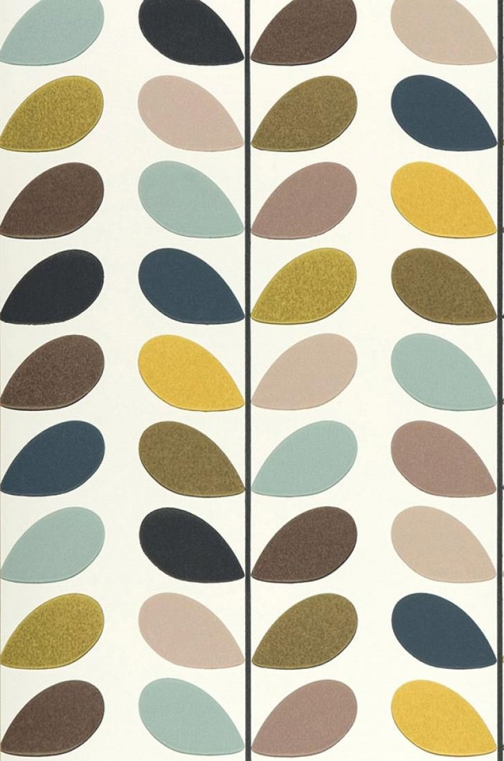 Osiris cream golden yellow olive green pastel turquoise black grey i - Papier peint vintage 50 ...