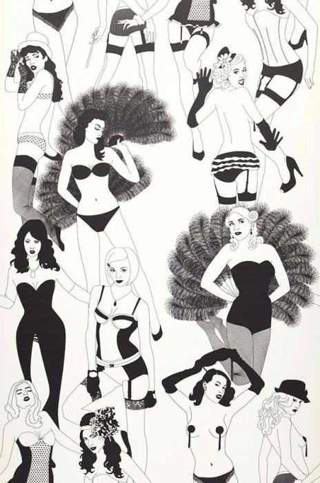 Tapete Burlesque Matt Burlesque Tänzerinnen Weiss Schwarz