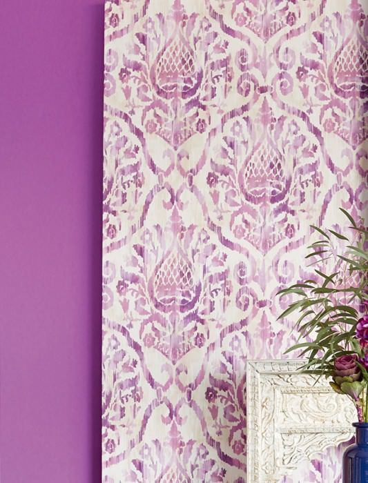 Wallpaper Esiko Matt Floral damask Beige Cream Pastel violet Crimson violet  Red violet