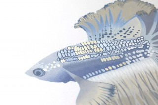 Wallpaper Servatius Matt pattern Shimmering base surface Fishes Cream Yellow grey Grey blue Pearl beige Pigeon blue
