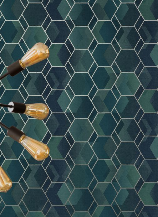 Geometric Wallpaper Wallpaper Opalino mint turquoise Room View