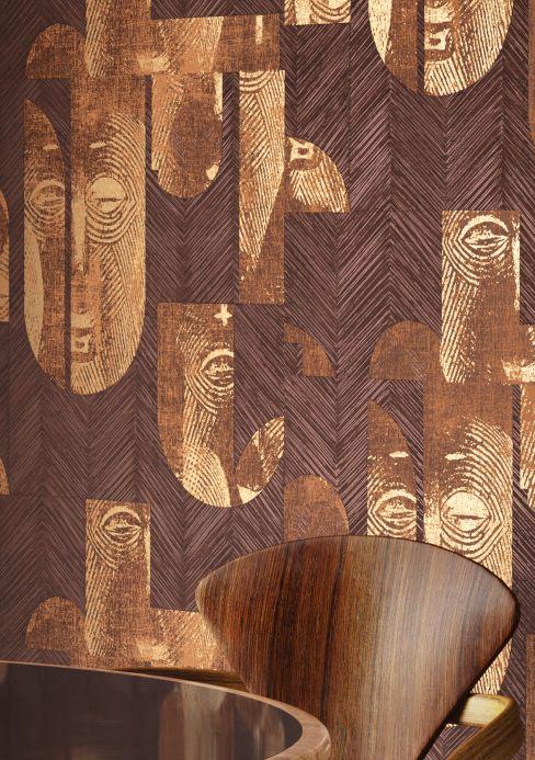 Papel pintado oriental Papel pintado Orest marrón nuez Ver habitación
