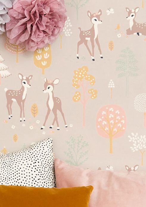 Design Wallpaper Wallpaper Golden woods pastel brown Room View