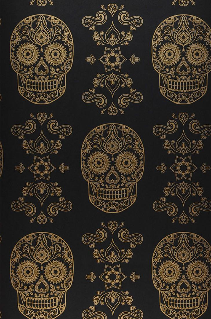 Wallpaper Dia De Los Muertos Black Gold Wallpaper From The 70s